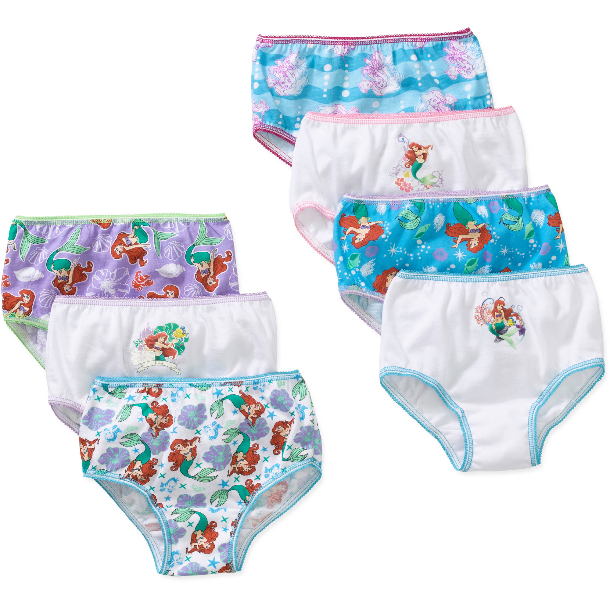 Disney Little Mermaid Ariel Toddler Girls Underwear, 7 Pack