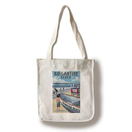 Brigantine Beach, New Jersey - Lifeguard Stand - Lantern Press Artwork (100% Cotton Tote Bag - Reusable)