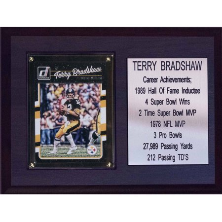 C   I Collectables Nfl 6  X 8  Terry Bradshaw Pittsburgh Steelers Career Stat Plaque