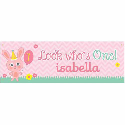 Personalized Look Who's One Birthday Banner For Her