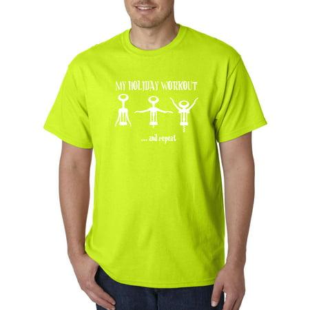 Trendy USA 733 - Unisex T-Shirt My Holiday Workout Wine Bottle Opener Large Safety Green