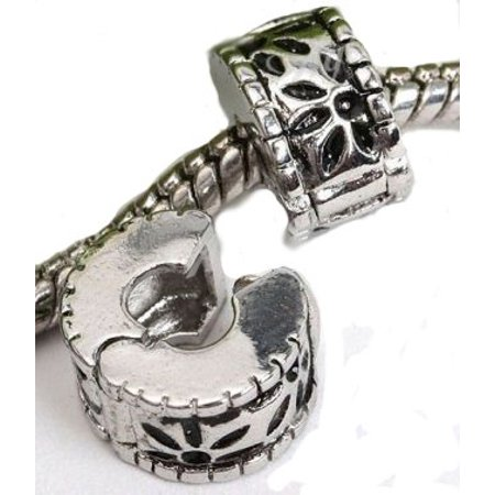 Flower Petals Clip Lock Stopper Charm Bead. Compatible With Most Pandora Style Charm