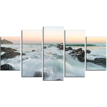 Design Art 'Bay of Biscay Sunrise Waves' 5 Piece Graphic Art on Wrapped Canvas (Weather In Bay Of Biscay Next 5 Days)