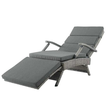 Modern Contemporary Urban Design Outdoor Patio Balcony Garden Furniture Lounge Chair Chaise, Rattan Wicker, Dark Grey Gray ()