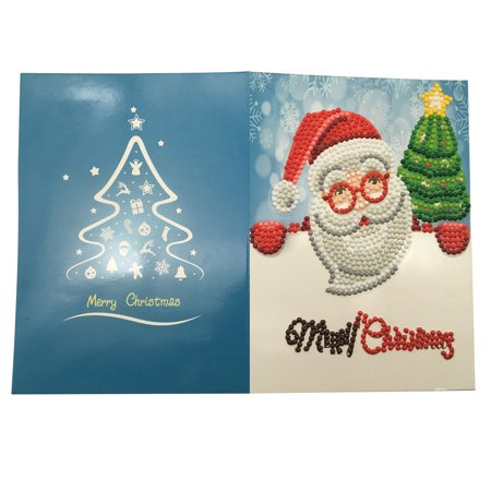 Diamond Painting Cartoon Mini Santa Claus Merry Christmas Paper Greeting Postcards Craft DIY Kids Festival Greet (Christmas Postcard Santa)