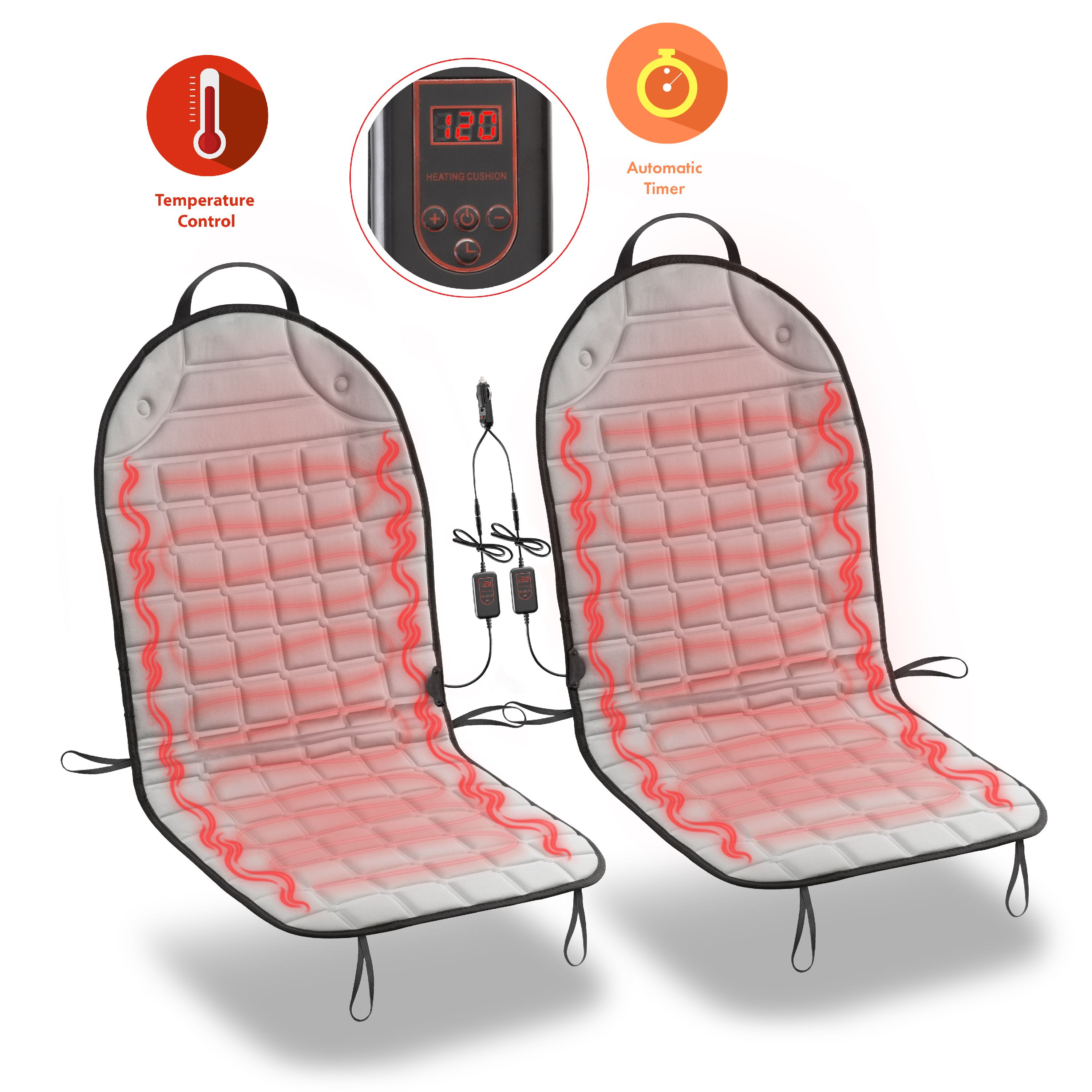 Zone Tech Car Heated Seat Cover Cushion Hot Warmer  2 Piece Set 12V Heating Warmer Pad Hot Gray Cover Perfect for Cold Weather and Winter Driving