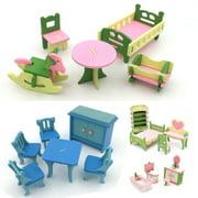 4Set Wooden Dollhouse Furniture,Miniature Bathroom/ Kid Room/ Bedroom/ Kitchen House Furniture Dollhouse Decoration Pretend Play Kids Children Toy