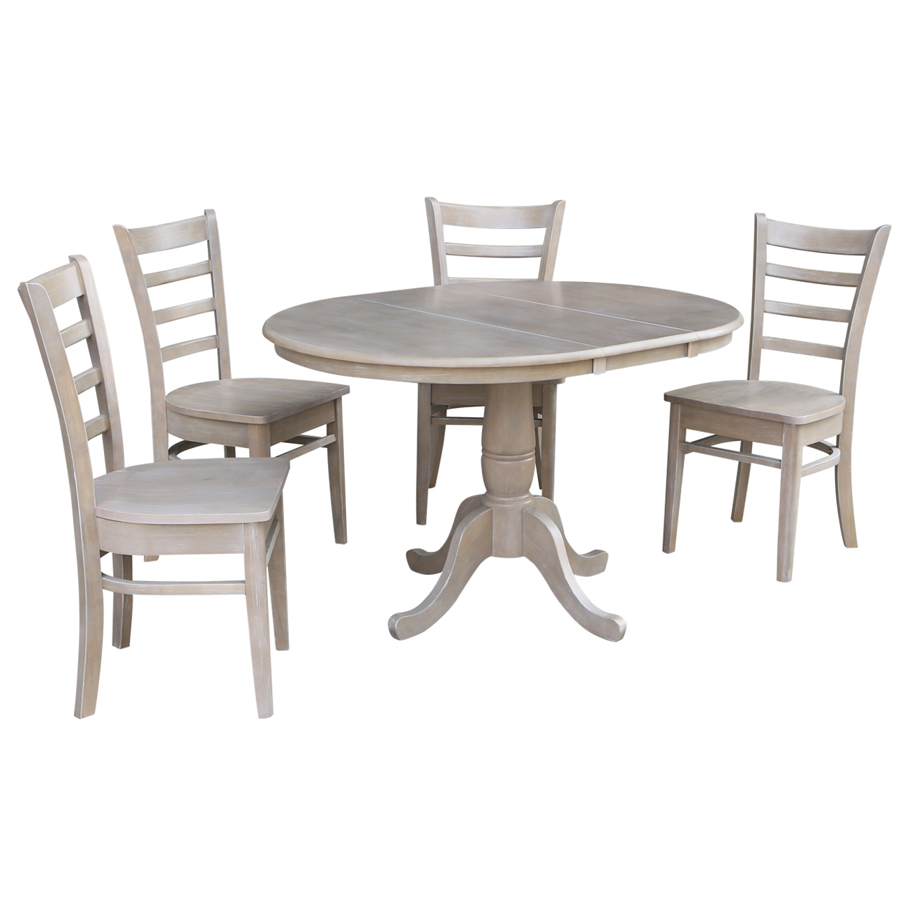 36 Quot Round Dining Table With 12 Quot Leaf And 4 Emily Chairs