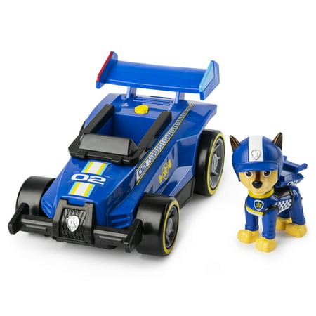 PAW Patrol, Ready, Race, Rescue Chase's Race & Go Deluxe Vehicle with Sounds, for Kids Aged 3 and up