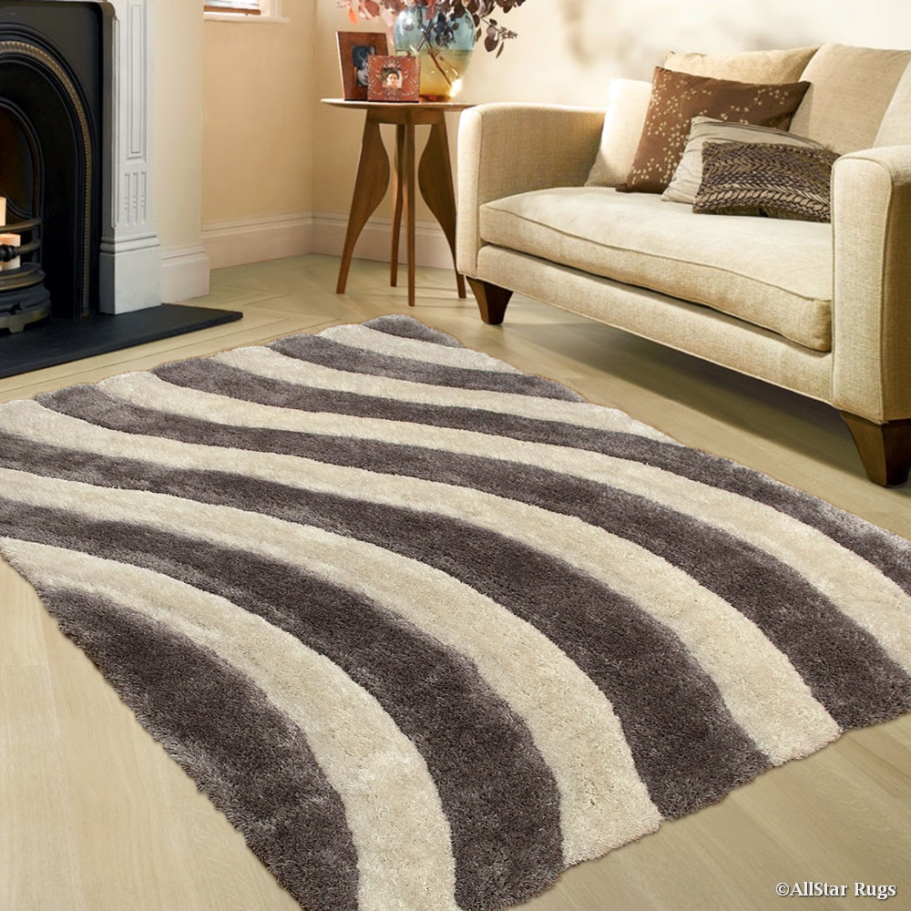 """Allstar Silver Shaggy Area Rug with 3D Lines Design. Contemporary Formal Casual Tween Hand Tufted (7' 6"""" x 10' 5"""")"""