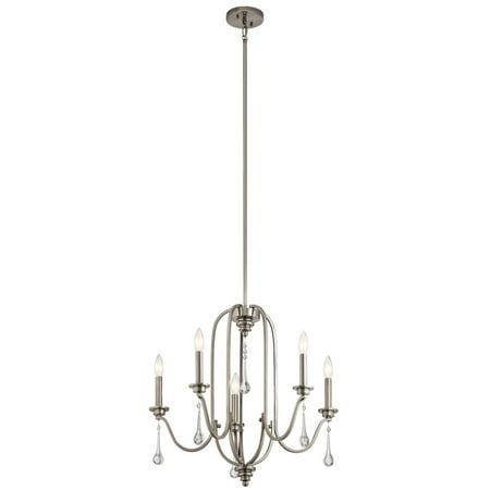 Chandeliers 5 Light With Classic Pewter Finish Steel Candelabra 24 inch 300 Watts ()