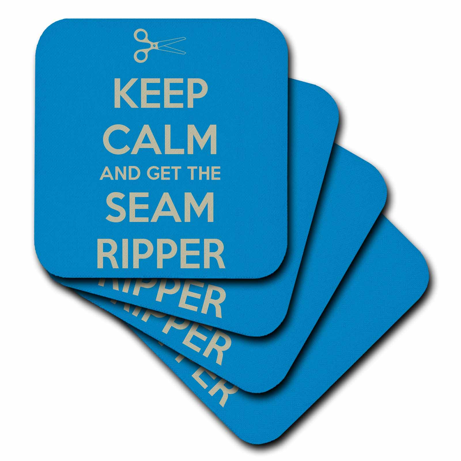 3dRose Keep calm and get the seam ripper, Blue and White,, Soft Coasters, set of 4