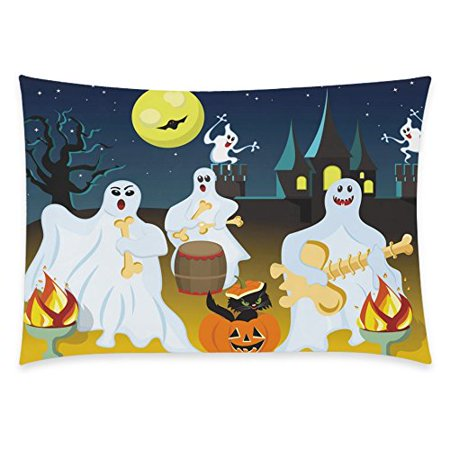 ZKGK Happy Halloween Moon Night Glitter Bat Home Decor Pillowcase 20 x 30 Inches,Hispter Ghost Play the Guitar Pillow Cover Case Shams Decorative](This Is Halloween Cover Guitar)