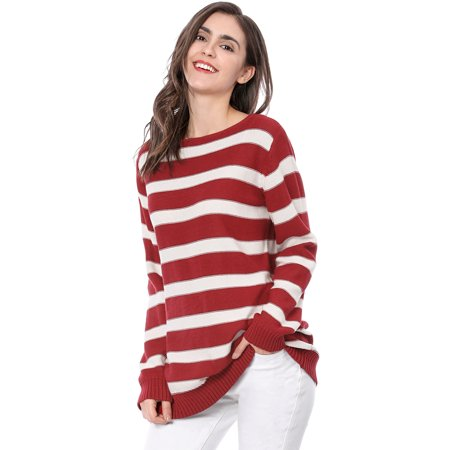Women Long Sleeves Drop Shoulder Scoop Neck Loose Striped Sweater Red XS (US 2)