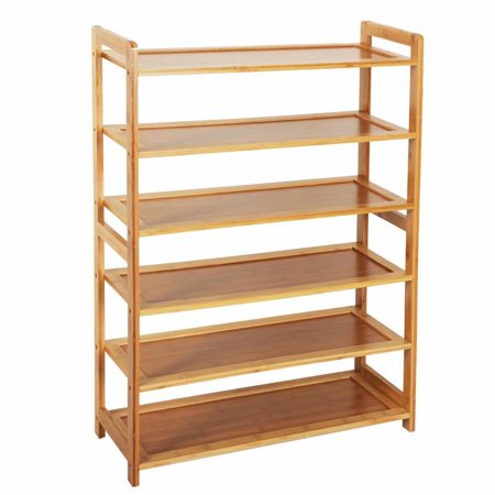 Akoyovwerve Concise Rectangle 6 Tiers Bamboo Shoe Rack Wood Color