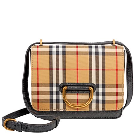 a7fb6645104 Burberry Small Vintage Check D-Ring Crossbody Bag- Black/Antique Yellow