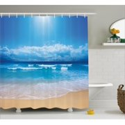 Beach Shower Curtain, Seascape Theme Landscape of the Beach and the Cloudy Sky in Summer