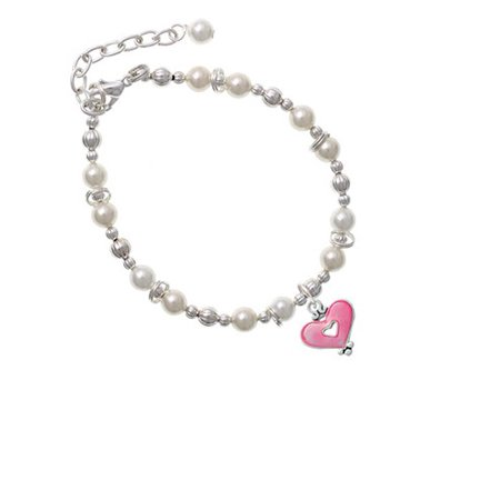 Hot Pink Enamel Heart with Cutout Imitation Pearl Beaded Bracelet