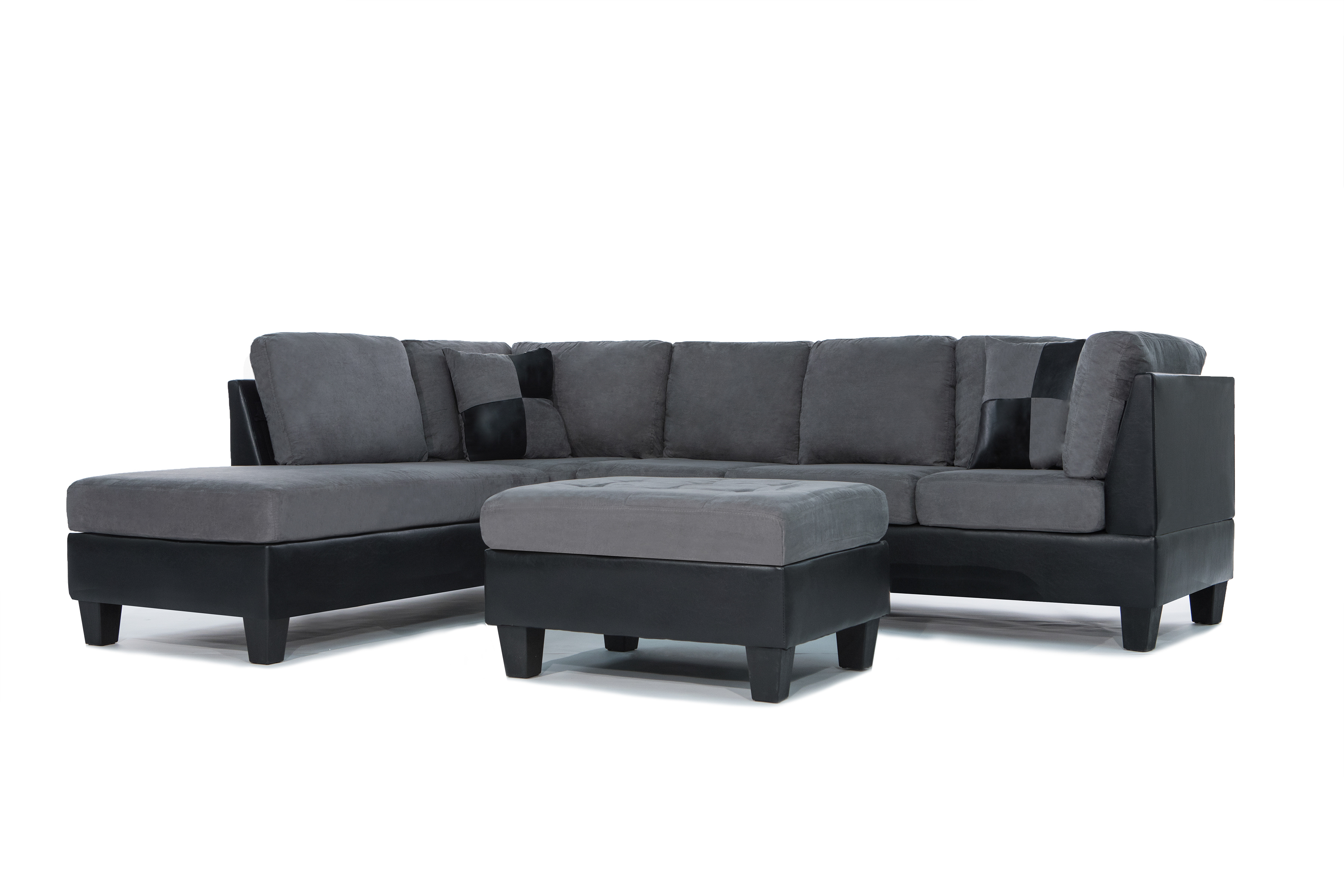 3 Piece Modern Soft Reversible Microfiber and Faux Leather Sectional Sofa with...