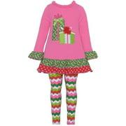 Baby Girls Fuchsia Present Applique Chevron Legging Set 12-24M