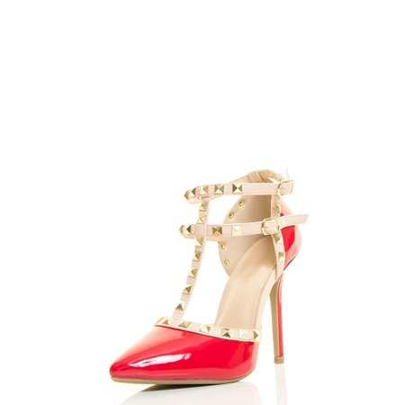 Womens Pointy Toe Gold Stud Strappy Ankle T-Strap Stiletto Heel Pump Sandal
