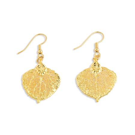24k Gold Dipped Aspen Leaf Drop Dangle Chandelier (Aspen Earings)