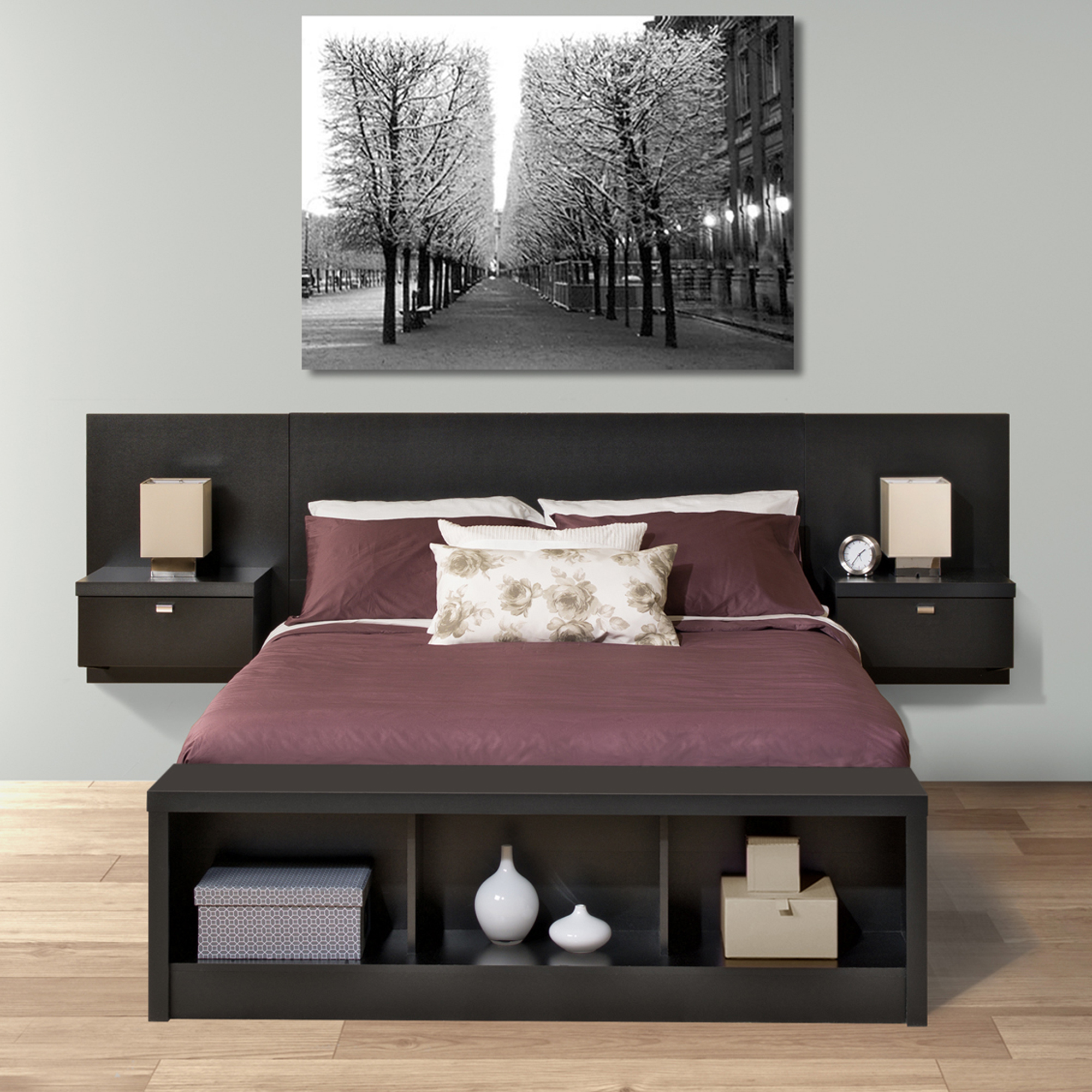 Prepac Black Series 9 Designer Floating Queen Headboard with Nightstands by Prepac Manufacturing Ltd