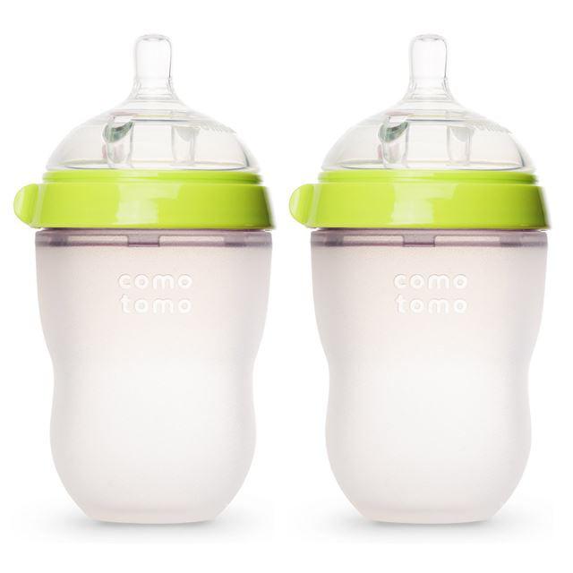 Comotomo Baby Bottle, Green, 8 Ounce, 2 Count