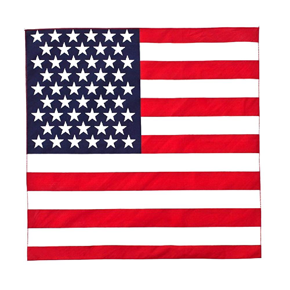 American Flag Bandana 100 Cotton 21 Inches Bulk