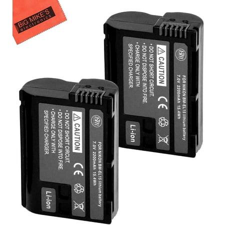 BM Premium Pack Of 2 EN-EL15 Batteries for Nikon 1 V1, D600, D610, D750, D800, D810, D7000, D7100 Digital SLR Camera + More!! (Nikon D7000 Battery Grip)