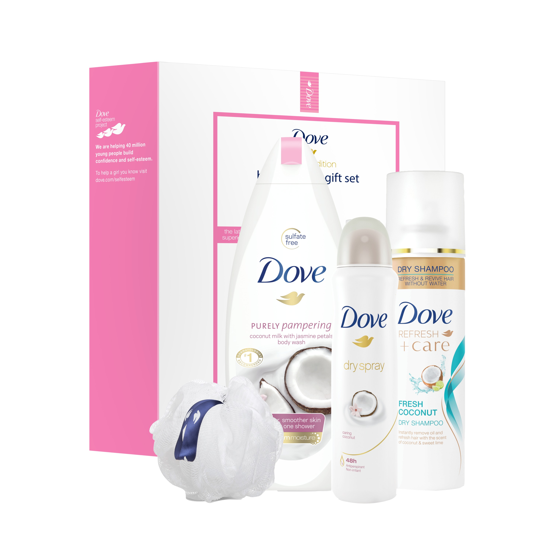 Dove 4-Pc Beauty Lover Gift Set Coconut & Jasmine with BONUS Pouf (Body Wash, Dry Shampoo, Dry Spray)