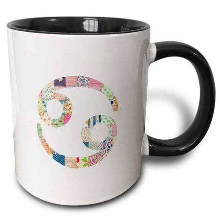 (3dRose Cancer symbol colorful girly design - Cancerian horoscope zodiac sign - Two Tone Black Mug, 11-ounce)