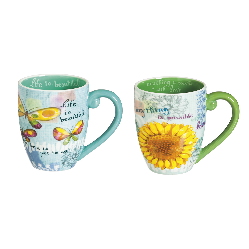 Cypress Home Color My World Ceramic 18 Ounce Coffee Mugs