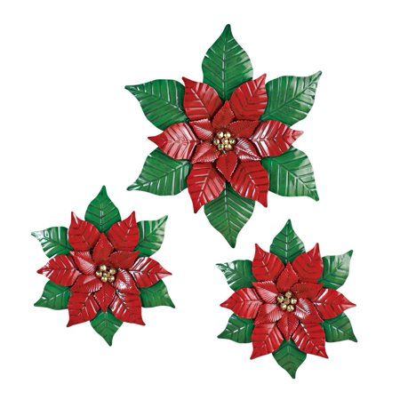 Outdoor wall decor set christmas poinsettia for Outdoor christmas wall decorations