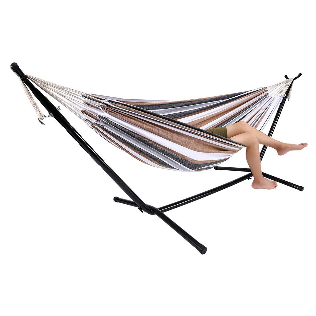 Outdoor Double Hammock With Stand Cotton Hanging Camping Hommock Up to 450bl Carry Bag Indoor GOGBY by