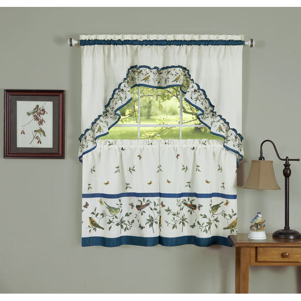 Powersellerusa 3 Piece Kitchen Curtain Set Window Curtain Swag Valance Nature Love Birds Kitchen Curtains For Kitchen And Living Room Cafe Curtain With Swag And Tier Panels Set Walmart Com Walmart Com