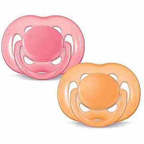 Philips Avent Orthodontic Freeflow Pacifier, 6-18 Months, Orange/Pink - 2 Counts