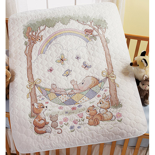 Bucilla Our Little Blessing Crib Cover Stamped Cross Stitch Kit-34X43 Multi-Colored