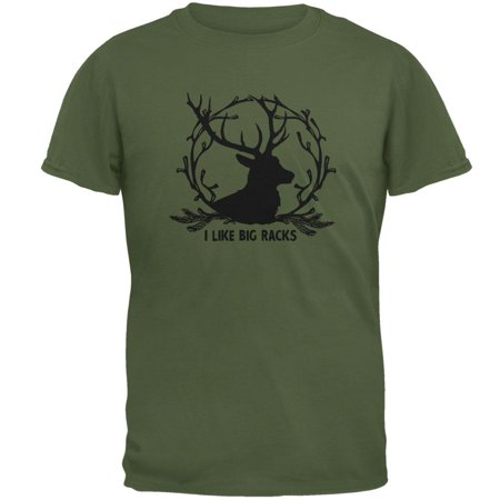 Buck Deer I Like Big Racks Funny Pun Mens T Shirt