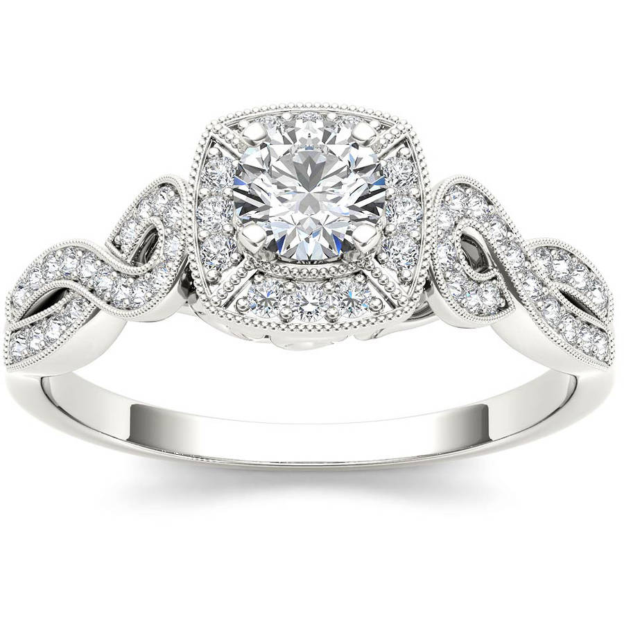 Imperial 1 2 Carat T.W. Diamond Criss-Cross Shank Single Halo Vintage 14kt White Gold Engagement Ring by Imperial Jewels