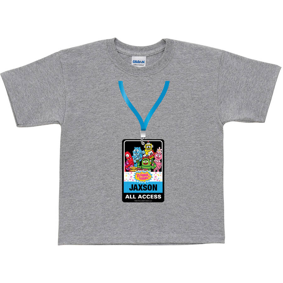 Personalized Yo Gabba Gabba Backstage Pass Kids' T-Shirt, Grey