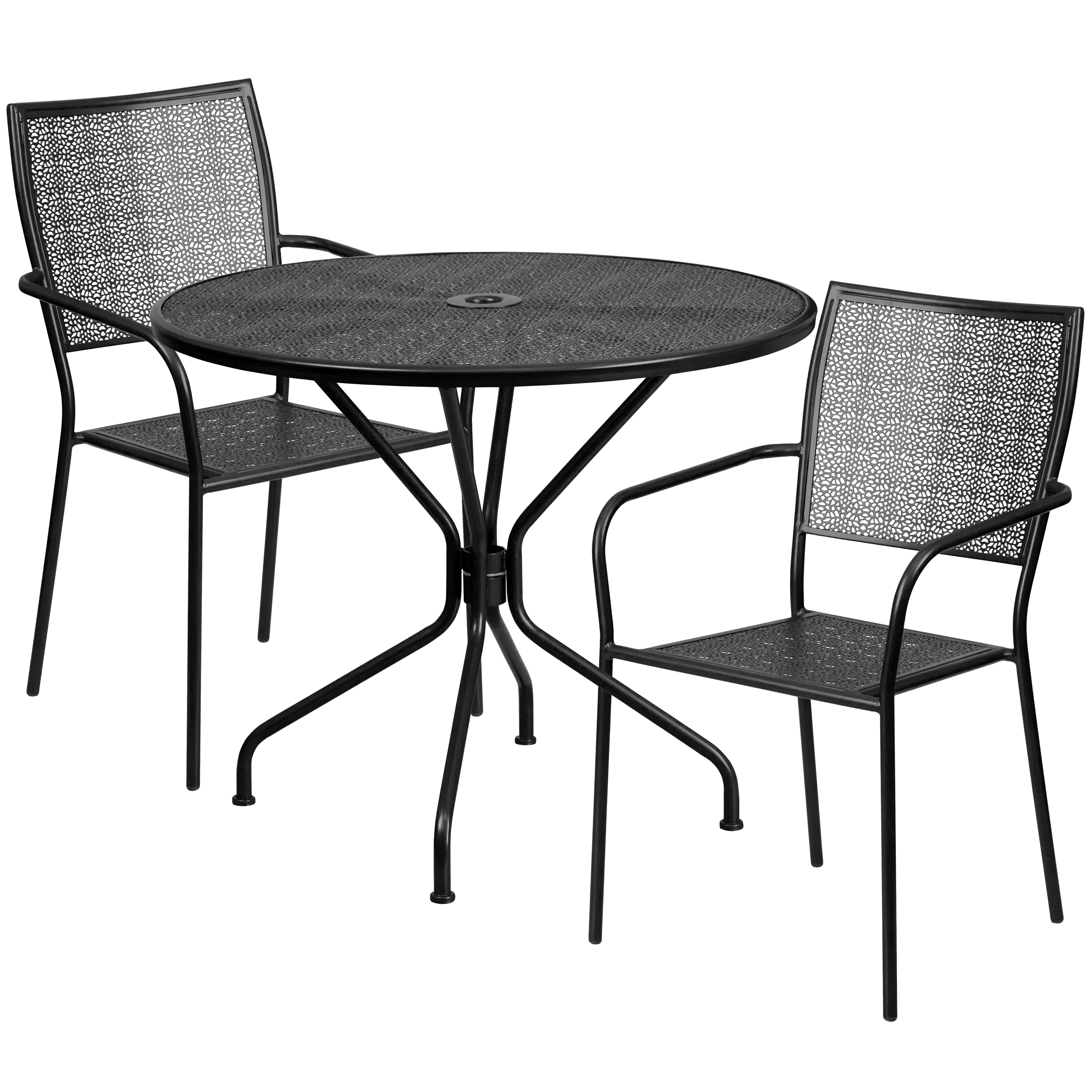 "Flash Furniture 35.25"" Round Indoor-Outdoor Steel Patio Table Set with 2 Square Back Chairs, Multiple Colors"