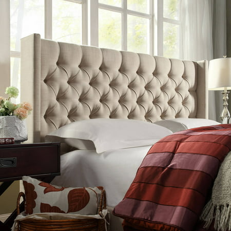 Weston Home Melford Wingback Tufted Linen Queen Size Headboard, Multiple Colors ()