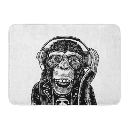 KDAGR Monkey Rocker in Headphones Skull Vintage Black Engraving Doormat Floor Rug Bath Mat 23.6x15.7 inch ()