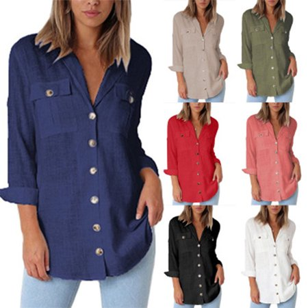 Womens Autumn V Neck Long Sleeve Color Block Stripes Button up T Shirts Tops Blouse (Long Sleeve Striped Button Shirt)