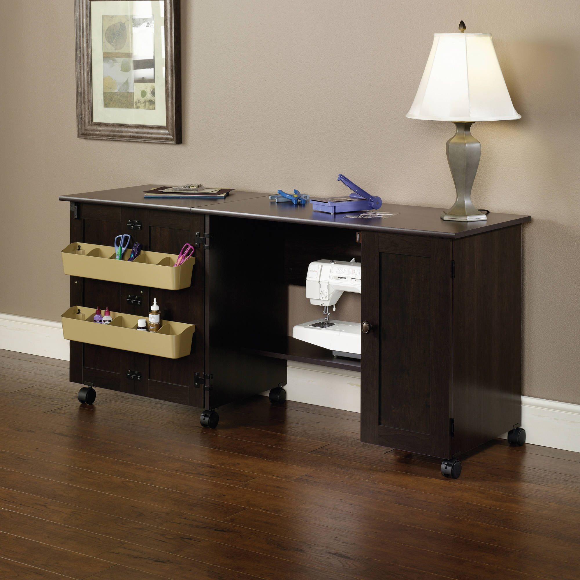 Sauder Sewing And Craft Table Cinnamon Cherry Finish Walmart Com Walmart Com