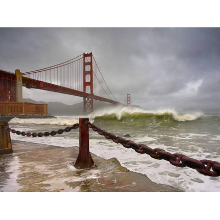 Large Storm Waves in San Francisco Bay under the Golden Gate Bridge About to Batter the Shore Print Wall Art By Patrick -