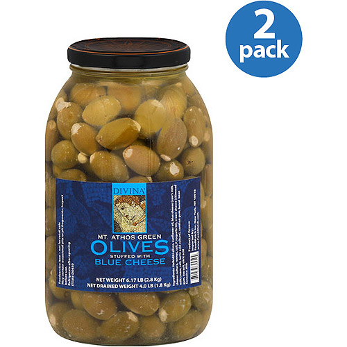 Divina Mt. Athos Green Olives Stuffed with Blue Cheese, 6.17 lb (Pack of 2)