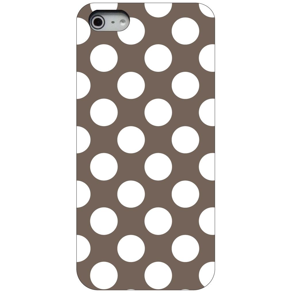 CUSTOM Black Hard Plastic Snap-On Case for Apple iPhone 5 / 5S / SE - White & Taupe Polka Dots