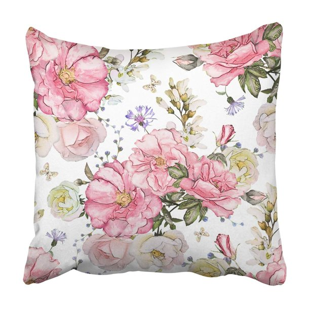 Artjia Pink Flowers And Leaves Watercolor Floral Rose Pillowcase Throw Pillow Cover Case 18x18 Inches Walmart Com Walmart Com